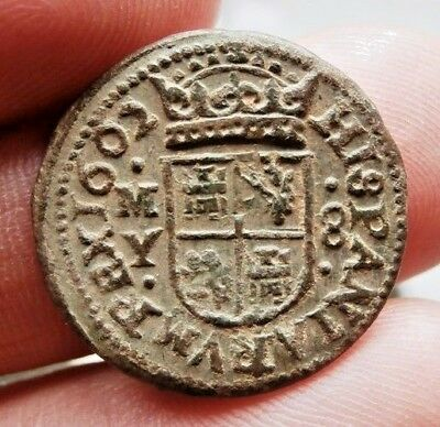 Awesome 1662 PIRATE COBS SPANISH 8 Maravedis Colonial Coin Felipe PHILIP IIII