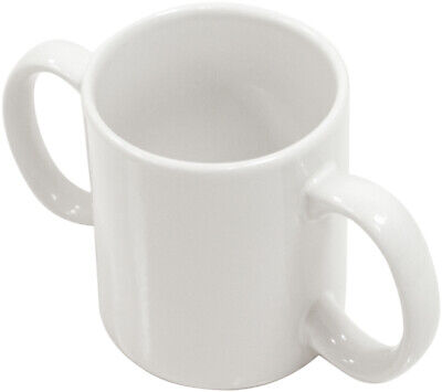 NEW White Two Handled Ceramic Cup Mug For Weak Grip Disability Aid VM922J