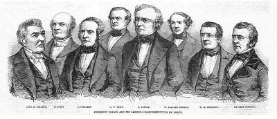 UNITED STATES President Taylor and his Cabinet - Antique Print 1850