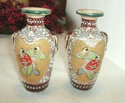 "2 Vintage Stoneware Asian Vases, Hand Painted Scene, Enameled Design, 4 3/4"" Tal"