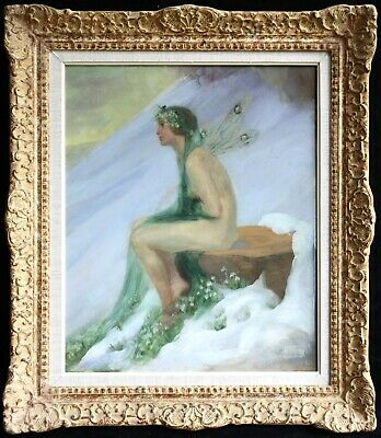 c. 1920 SUPERB FRENCH OIL ON PANEL PORTRAIT OF A FAIRY - INDISTINCTLY SIGNED