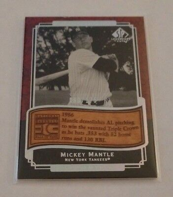 Mickey Mantle - 2003 Sp Legendary Cuts - Etched In Time - #Et-Mm - #90/175 -