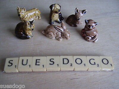 6 Wade Whimsies Set 1 & 2 - 1971-72 - Dogs Rabbit Fox Deer In Perfect Condition