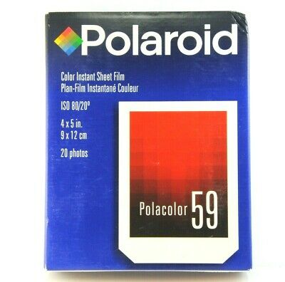 1x Box of POLAROID Polacolor 59 ISO 80 4x5in, 9x12cm pack film. NOS, 20 sheets.