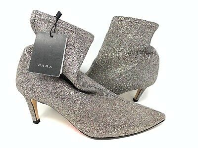 3cfda0e0ea1 ZARA Woman Ankle Boots Eu 38 US 7.5 Shimmer Glitter Silver Pointed 1118 301  NWT