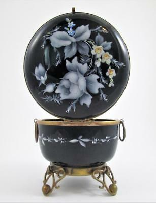 Large Enameled BLACK Opaline Glass JEWELRY dresser BOX - French Antique c.1890's