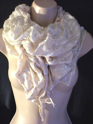 Soft Pink Elasticated / Ruched / Gathered Scarf with Silver Metallic Thread GC