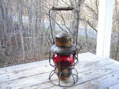 CPR red glass lantern (wooden handle)
