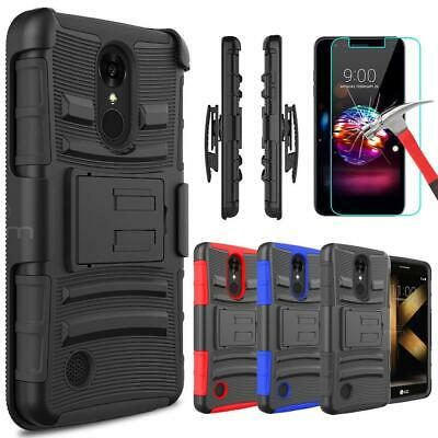 For LG K10 (2017) /K20 Plus Armor Case With Kickstand Belt Clip+Screen Protector