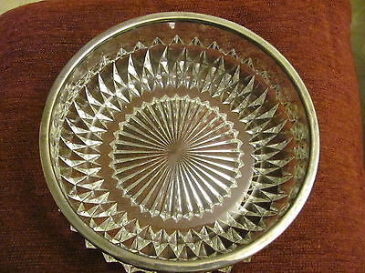 Silver Plate Trimmed Cut Crystal Bowl-Made In England