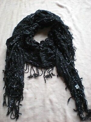 Black & Silver Striped Elasticated Double Fringed Boho Scarf in Good Condition