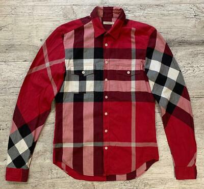 59611cac0fed Auth Men`s BURBERRY BRIT Red Shirt Cotton Nova Check Size S-M Long Sleeve