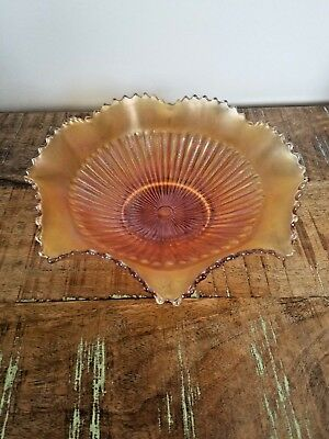 "Northwood Carnival Glass Marigold Stippled Rays 9 12"" Scalloped / Sawtooth Bowl"
