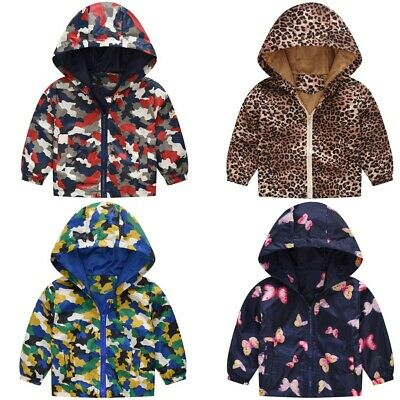 UK Toddler Kids Baby Girls Boys Camouflage Butterfly Spring Hooded Coat Jacket