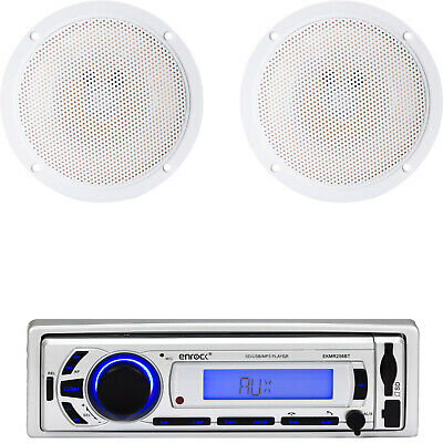"5.25"" Marine White 100W Flush Mount Speakers, Enrock Bluetooth USB SD AUX Radio"