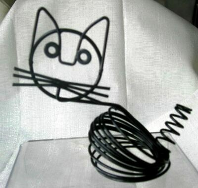 Cat kitten art deco retro Eames style black letter and pen holder metal wire