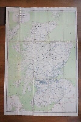 1960 Railway Clearing House RCH Map of Scotland Linen Backed & Bound VGC