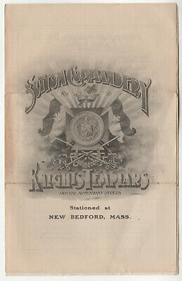 1922 KNIGHTS TEMPLAR New Bedford Massachusetts PROGRAM Masonic SUTTON COMMANDERY