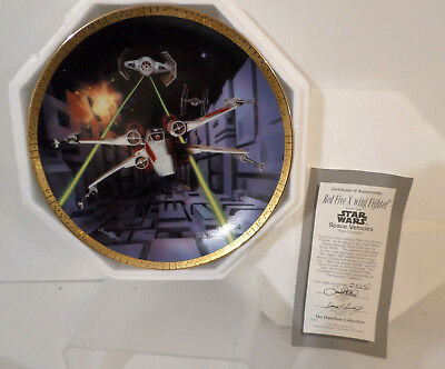 Hamilton Star Wars Space RED FIVE X-WING FIGHTER Plate Cert of Authenticity NIB