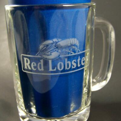 """Red Lobster Restaurant Glass Mug Cup 4-1/4"""" Tall Coffee Gift Rare Beer Tumbler"""