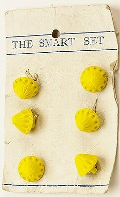 Antique Vintage 1930s Button Card Yellow Plastic Conical 12mm diameter x 6