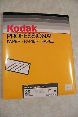 "Vintage 25 Sheets 8x10"" Kodak Polycontrast III RC Black & White Photo Paper NOS"