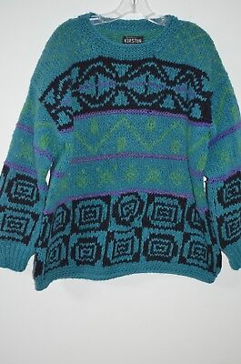 Kirsten Blue Multi Colored 100% Virgin Wool Hand Knit Crew Neck Sweater Size L