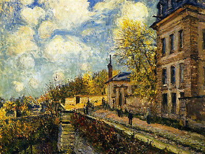 Oil painting Alfred Sisley - The Factory at Sevres impressionism view canvas