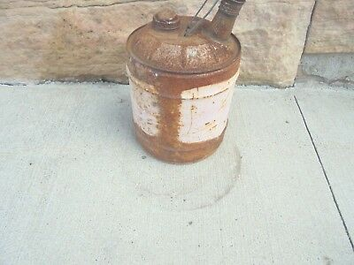 5 gallon metal gas oil can painted over rusty yard garden gas station decor