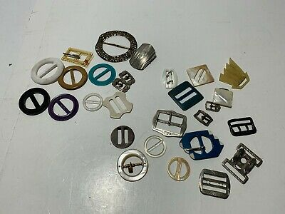 Antique VTG Art Deco Bakelite Celluloid Plastic Metal MIXED LOT OF BELT BUCKLES