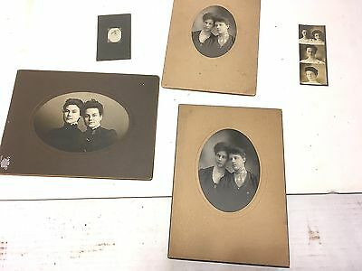 LOT ANTIQUE VTG Photos CDVs Cabinet Portrait EARLY 1900's SISTER FAMILY PICTURES