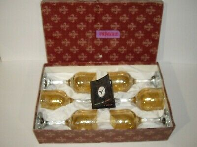 Cristalleria Fratelli Fumo Amber Etched Scroll Wine Glasses set of 6 NIB ITALY