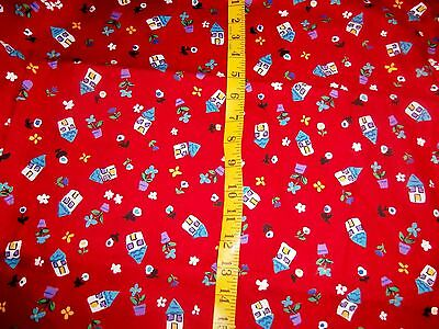 Vintage VIP Cranston Print Works Red Calico Cotton Quilt Fabric 1_1/2 yds SEWING