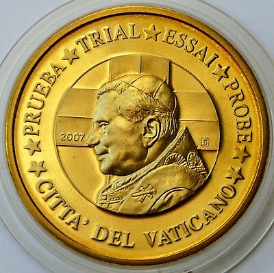 50 Cents Euro 2007 Vatican City, Pattern Coin, Pope Benedict XVI