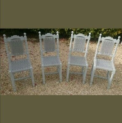 Hand Painted Antique Oak Rush Seat & Back Barley Twist  Dining Chairs