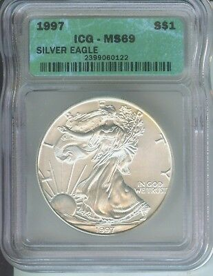 1997 American Silver Eagle ASE S$1 ICG MS69 MS-69 BEAUTIFUL