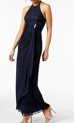 08397f8838 Betsy   Adam NEW Blue Navy Lace Sequin Halter Women s 6 Gown Dress  119  189