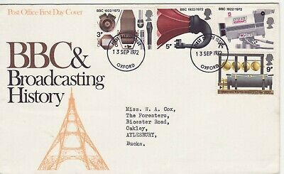 GB Stamps First Day Cover Broadcasting Anniversaries, BBC, TV CDS Oxford 1972