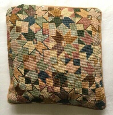 RARE Lovely VINTAGE Needlepoint EHRMAN  Design Tapestry Cushion Completed