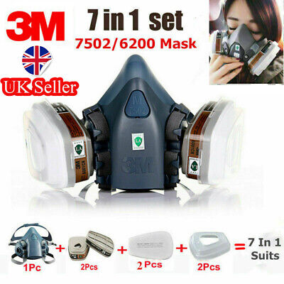 3M 7502/6200 Spray Paint Dust Mask 7 in1 Half Face Reusable Respirator Filter UK