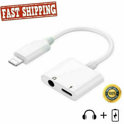 2in1 Lightning to 3.5mm Charging Earphone AUX Adapter Cable For iPhone 7 Xs XR