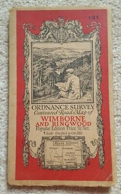 Vintage Wimborne and Ringwood 1932 Cloth Ordnance Survey Map one inch one mile