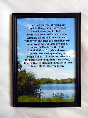 A4 Glossy Print In My Life Beatles lyrics Ideal for framing by you Free P+P