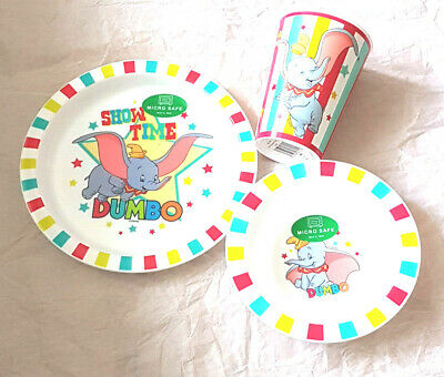 Kids Dumbo 3 Piece  Plate & Bowl & Tumbler Mealtime Set 6 Mths +New