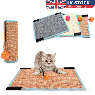 Pet Cat Kitty Scratching Board Mat Sofa Sisal Pad Protector Scratcher with Bell