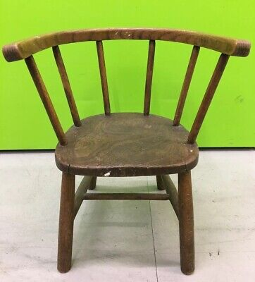 Antique Lovely Old Child's Wood Elm? Small Brown Chair 3 Bears ! Shaker Style