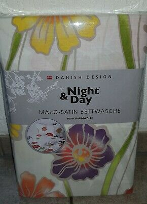 Neu Ovp Bettwäsche Mako Satin Blumen 135x200 80x80 Night And Day