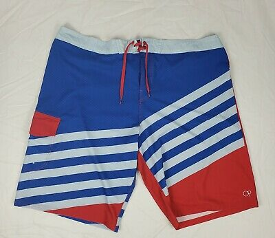 53d2e729f0f1a OpFlex 4 Way Stretch Mens Board Shorts Swim Trunks Blue and Red size 42