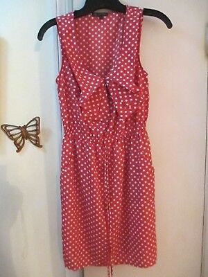 BeBop -  Pink with White Polka Dots Scoop Neckline Sleeveless Dress  -  Size S