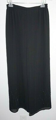 Adrianna Papell Evening Essential Black Chiffon Palazzo Pants Beaded Sz 8